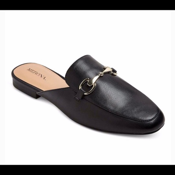 Merona Shoes | Black Mules With Gold